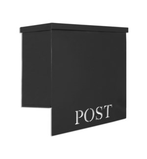 Stanley Iron Mailbox, Black, w/ laser cutout  POST  12 x 6 x 13 inches