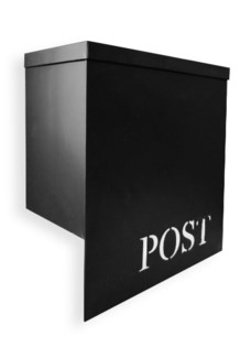 Stanley Iron Mailbox, Black, w/ Stamped  POST  12 x 6 x 13 inches