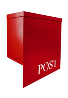 Stanley Iron Mailbox, Red, w/ Stamped  POST , 12 x 6 x 13 inches On Sale 35 percent off
