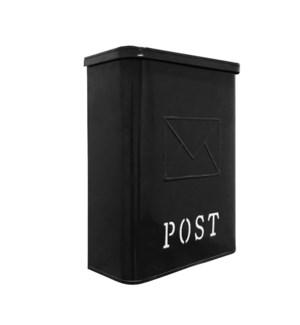 Serena Galvanised POST Mailbox Black, 10.5 x 4.25 x 14.25 inches
