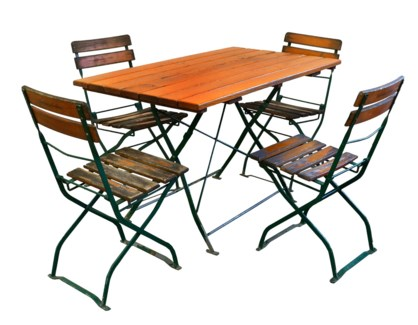 Antique French Large Bistro Set 1 table 4 chairs Beer Square: 47Lx28Wx29.5inch