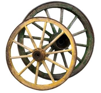 Antique German Cart Wagon Wheels Circa 1880, Large dims 40 to 60