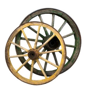 """Antique German Cart Wagon Wheels Circa 1880, Large dims 40 to 60"""