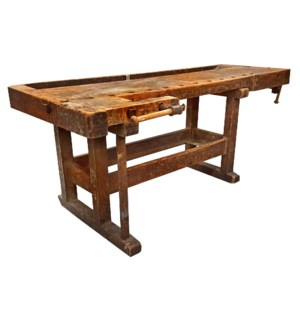 Very Old Original Workbench, with wooden clamps origin Germany 83x32x35.5 inch