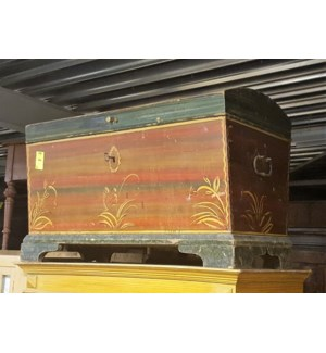 """Antique German Painted Trunk, From Germany 1880 On Sale 35 percent off"""
