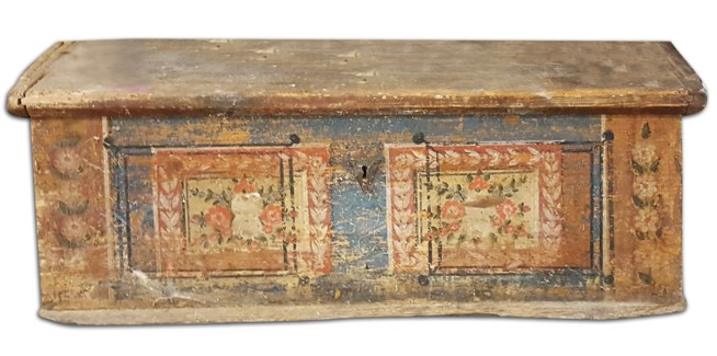 Small Antique German Painted Trunk, From Germany 1779 On Sale 30% off