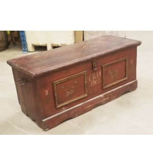 Large Antique German Trunk, faided paint , From Germany 1880. 49Lx24.5Wx23.2H On Sale 35 percent off