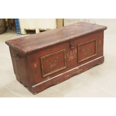 Large Antique German Trunk, faided paint , From Germany 1880