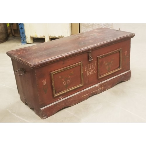 """""""Large Antique German Trunk, faided paint , From Germany 1880 On Sale 35 percent off"""""""