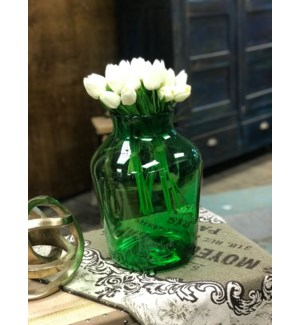 Antique Hungarian Mouth Blown Glass Vase,Green 14x10 in - Hungary, 1870