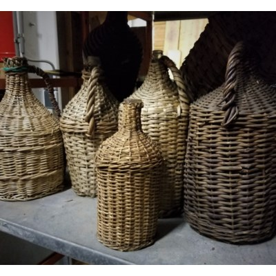 Antique Hungarian Bottles in wicker - Hungary, 1860 *Styles may vary slightly*
