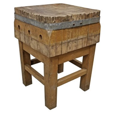 1870 France Butcher Block Table 20x20x30 inch