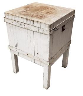 Rare Large Old Butcher Block White 1900 circa  30x30