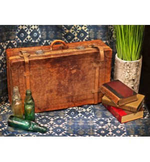Antique Leather Suitcase , 1870 Circa England