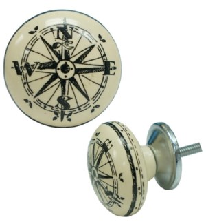 Compass Ball Knob Ceramic