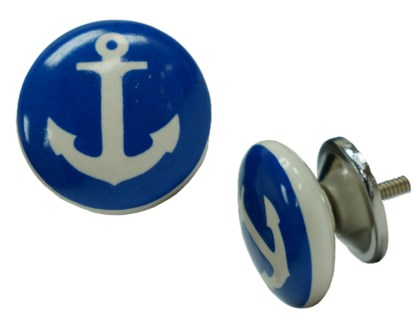 Anchor Ball Knob, Ceramic, Blue and White, 1.5x1.5x1.5inch.