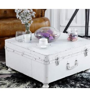 """""""Kealy Square Trunk Coffee Table, Iron, White"""""""
