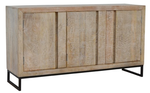 Retro Wood Sideboard, Mango Wood, 62x18x33.8 Inch