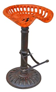 Steampunk Bar Stool, Orange, 19x16x32 inches