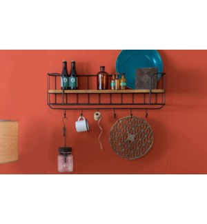 Industrial Kitchen Shelf w/hooks, 31x8x16 inches *Last Chance!*  On sale 25 percent off!