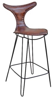 T Back Iron Bar Chair, Brn Leather, 19x19x43 inches  *Last Chance!*