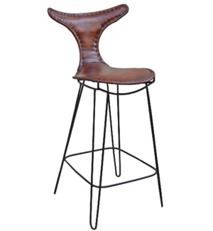 T Back Iron Bar Chair Brn Lthr, 19x19x43 inches  *Last Chance!*  On sale 25 prcnt off!