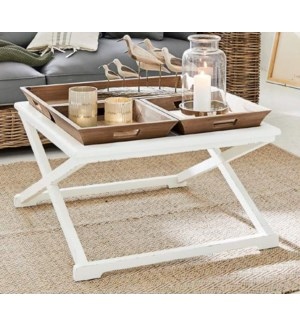 """""""Roche Coffee 3 Tray Table, White/Natural"""""""
