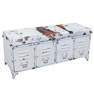 """Cow Hide Locker Style Bench, 47x16x20.5 Inch White *Cow Hide Pattern May Vary in Color & Pattern*"""