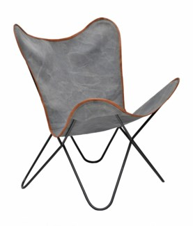 Butterfuly Chair, Distressed Grey Canvas 26x30x35 in.