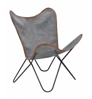 Butterfly Chair, Distressed Grey Canvas 26x30x35 in.