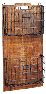 Wood Rack w/ Metal Basket 13x4x26