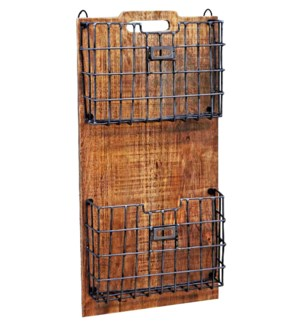 """Wood Rack w/ Metal Basket, LC"""