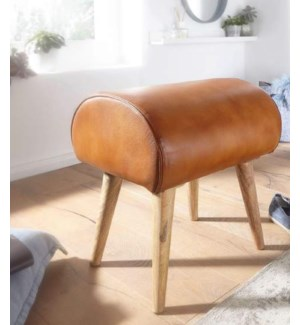 """WOODEN LEATHER SEAT STOOL, LC"""