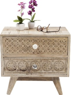 Chantilly Bedside Table Carved Mangowood 19.7x13.8x18.1