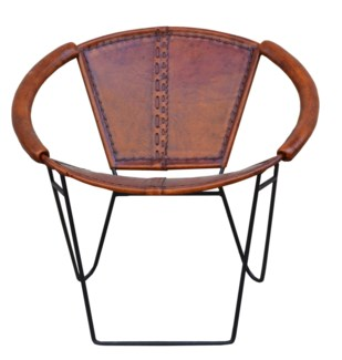 Circle Chair, leather, 27x31x28 inches