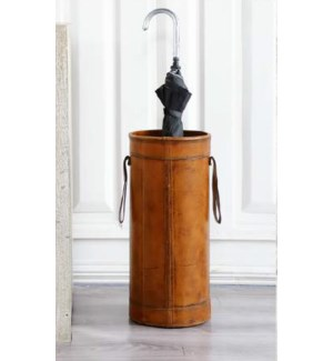 """""""Manny Umbrella Stand/Basket, Leather, Brown"""""""