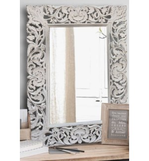 Carved Mirror, White, 30x1x42 inches  On sale 25 percent off!
