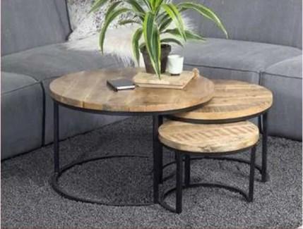 Hillary Round Nesting Tables Set/3, Black & Natural  S: 17x17x13  M: 22x22x16 L: 30x30x19 in.