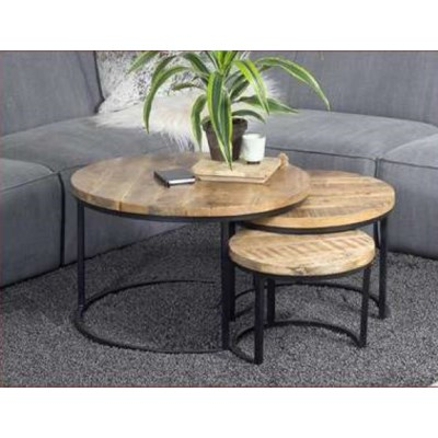 Hillary Round Nesting Tables Set 3 Black Natural S 17x17x13 M
