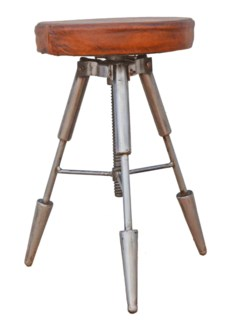 Galiano Tri Legged Adj. Height Stool, leather/metal, 16x17x24