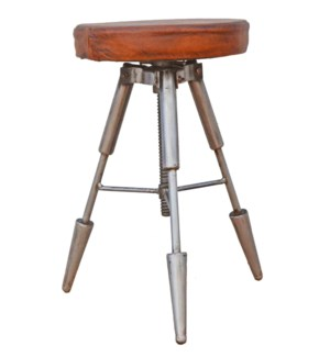Galiano Tri Legged Adj. Height Stool, leather/metal, 16x17x24 LAST CHANCE!  On sale 25 percent off!