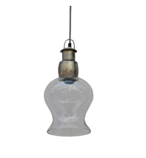 Glass Rose Pendant Light 8x7.9x15in.