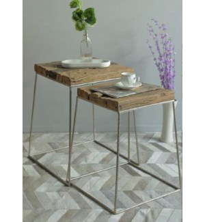 """Whitlow Side Table Set/2, Wood/Iron"""