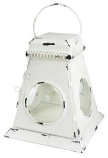 Lantern, L Distressed Wht, 9.5x9.5x12 inches