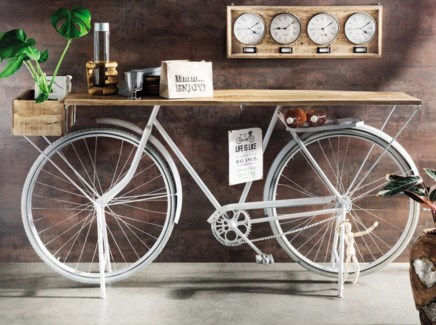 Euro Bicycle Console Table, White,  83x20x35
