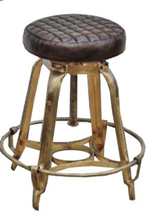 Belle Epoch Adj. Height Barstool, Gold & Black Leather 18x18x27