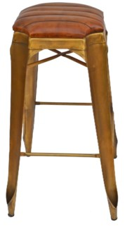 Gatsby Barstool, Gold & Brown Leather 17x17x30