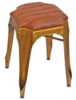 Gatsby Short Stool, Gold & Brown Leather 14x14x20