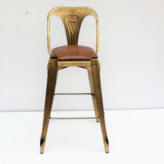 Gatsby High Bar Stool Chair, Gold & Brown Leather 21x21x41 in (Seat height 31 inch)