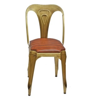 """""""Gatsby Chair, Gold & Brown Le"""""""
